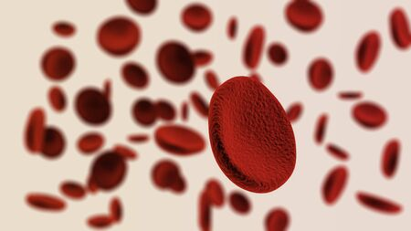 corpuscles: Many blood cells with focus effect 3D rendered on light background