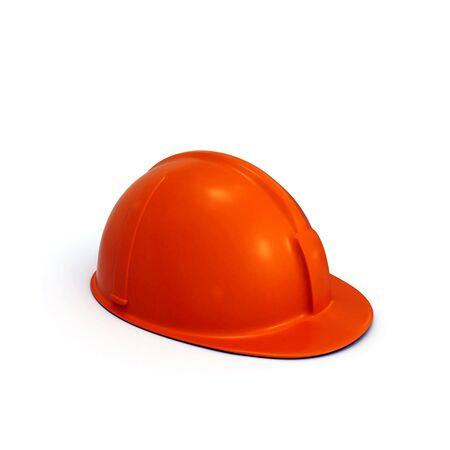 constructing: Red constructing safety casque 3D rendered isolated on white background (side view)