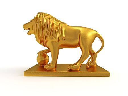 3d lion: Golden statue of a lion 3D rendered isolated on white background (left view) Stock Photo