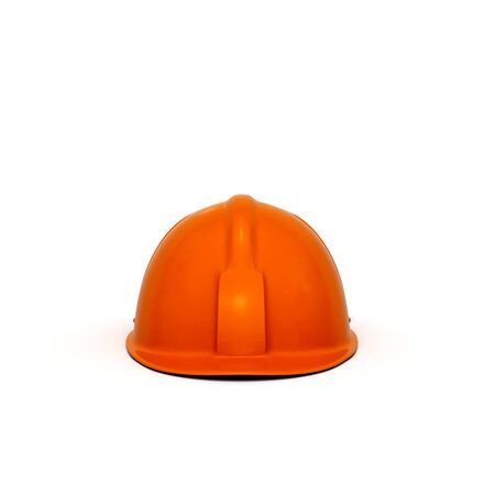casque: Red constructing safety casque 3D rendered isolated on white background (front view)