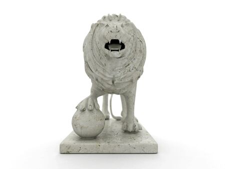 3d lion: Marble statue of a lion 3D rendered isolated on white background with focus effect (front view) Stock Photo