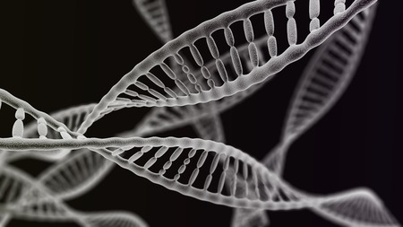ovule: CGI visualization of the many DNA helix (electronic microscope simulation) with focus effect (dark version) Stock Photo