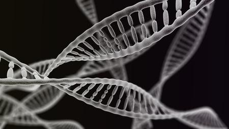 adn humano: Visualización CGI de los muchos hélice del ADN (simulación microscopio electrónico) con efecto de enfoque (versión oscura)