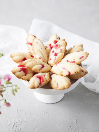 Homemade French cookies (cakes) Madeleine with fresh red currant on grey background. Summer dessert with berries.