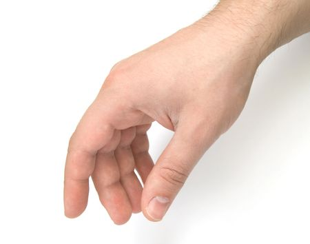 reaching hands: Mens hand touching something Stock Photo