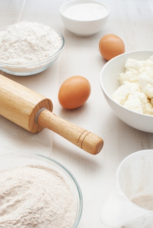 Flour, eggs and ricotta cheese for baking  photo