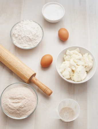 baking ingredients: Flour, eggs and ricotta cheese for baking