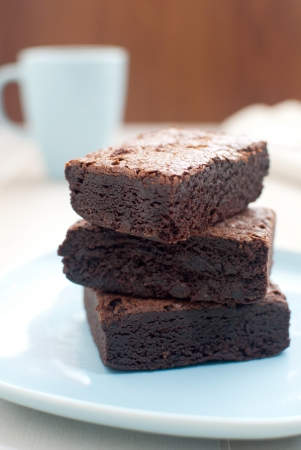Brownies with cup of tea  photo