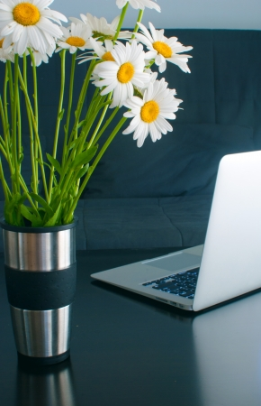 Laptop on the table and chamomiles in steel vase  photo