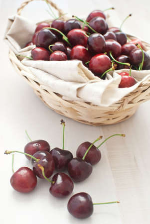 Cherries in basket photo