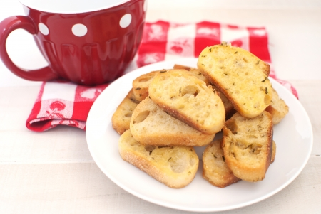 baguette croutons and milk  photo