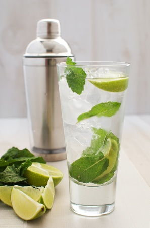 Lime and mint drink with shaker  photo