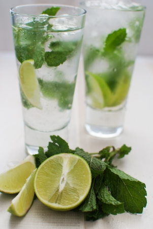Lime and mint drink  photo