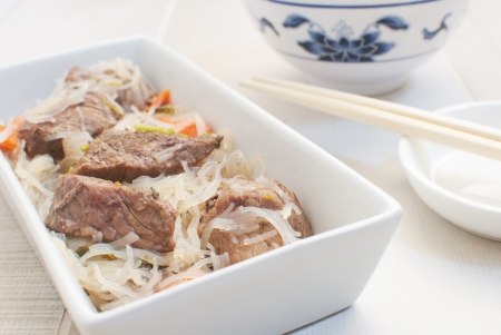 Asian meat with glass noodles  photo