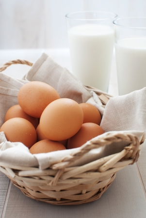 Eggs in basket and a milk vertical  photo