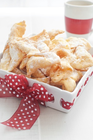 christmas cake: Traditional polish cookies chrusciki  Stock Photo