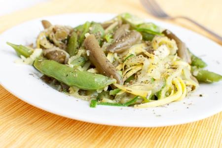 julienne: Beans, peas, zucchini julienne salad   Stock Photo