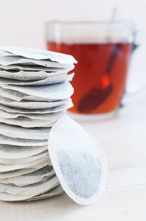 sachets: Round sachets with tea leaves