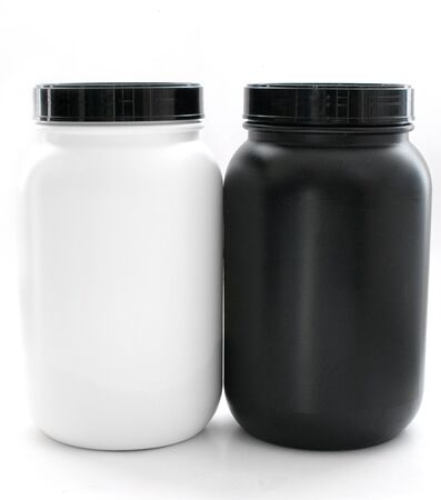 Jars for sport supplements black and white isolated