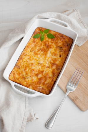 oven potatoes: Homemade gratin casserole with eggs and cheese
