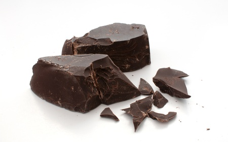 eating chocolate: Cut and broken pieces of dark chocolate horizontal Stock Photo