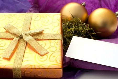Gift box with space for text on card horizontal Stock Photo - 16114200