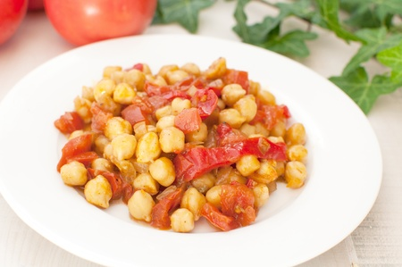 Chickpea, tomato and sweet pepper ragout closeup Stock Photo