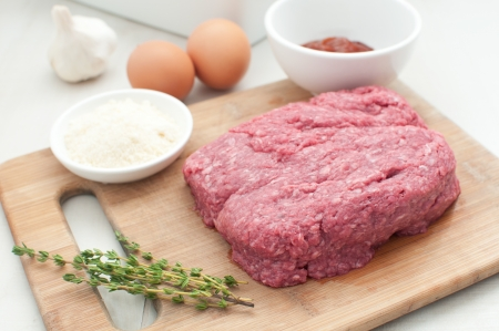 Ground meat for meatloaf with other ingredients horizontal photo
