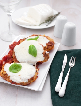 Meat parmigiaana with mozzarella cheese vertical