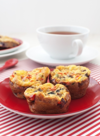 Healthy eggs and vegetables muffins for breakfast Stock Photo