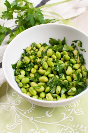 Shelled edamame beans with parsley salad