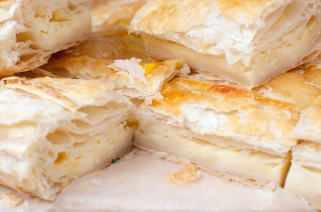 Puff pastry with cheese closeup Stock Photo