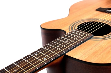 Wooden acoustic guitar isolated closeup horizontal photo
