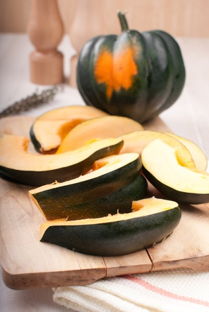 Cut and whole acorn squash before baking