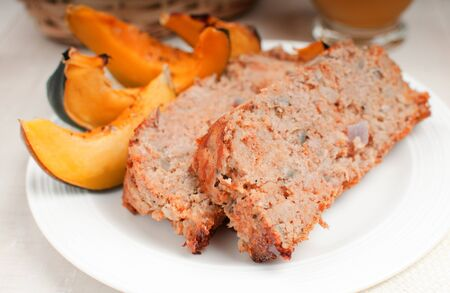 Turkey meatloaf with roasted squash horizontal Stock Photo - 16961012