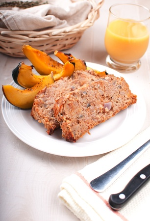 Homemade meatloaf with baked acorn squash vertical Stock Photo - 16961018