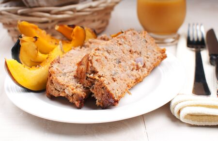 Ground turkey meatloaf and roasted squash horizontal photo