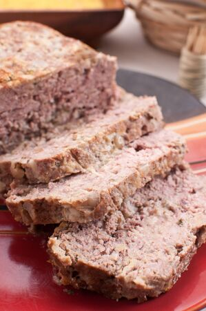 Ground pork and turkey meatloaf closeup photo