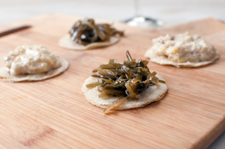 jewish cuisine: Round canapes with seaweed horizontal Stock Photo