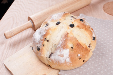 bread soda: Soda bread with rolling pan on the table horizontal