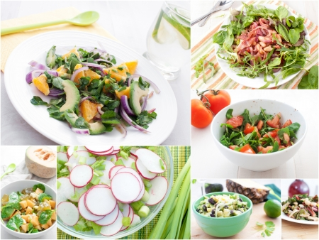 Spring and summer salads collage horizontal Stock Photo