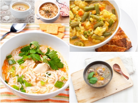 Collage with different meat and vegetables soups horizontal photo