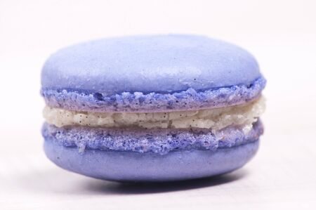Purple macaroon cookie isolated closeup