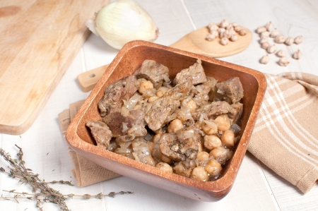 Beef with chickpeas, onions and herbs horizontal photo