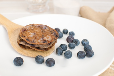 Blueberry pancakes from healthy oats and whole wheat Stock Photo