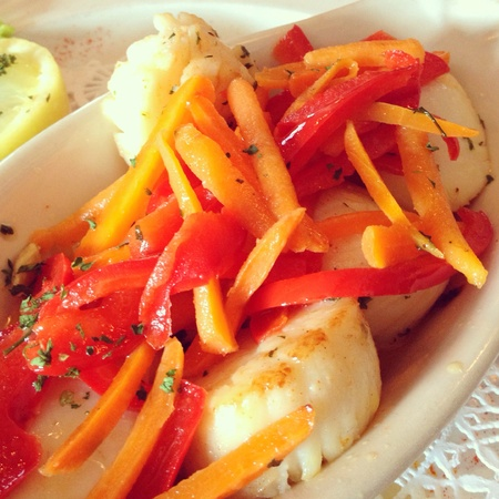 seared: seared scallops with vegetables