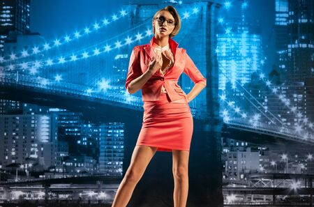 Beautiful businesswoman on the cityscape background Stock Photo - 13195000