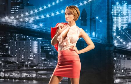 Beautiful businesswoman on the cityscape background Stock Photo - 13195004