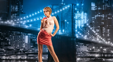 Beautiful businesswoman on the cityscape background Stock Photo - 13195006