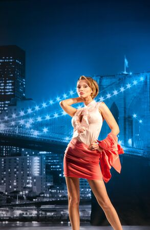 Beautiful businesswoman on the cityscape background Stock Photo - 13194996